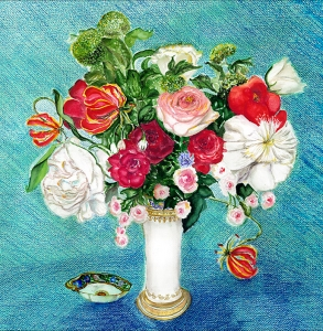 French Flowers in a Vase blue background
