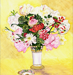 French Flowers in a Vase yellow background
