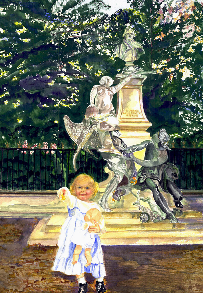 Delacroix Statue and Child Jardin du Luxembourg, Paris