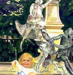 Delacroix Statue and Child Jardin du Luxembourg, Paris